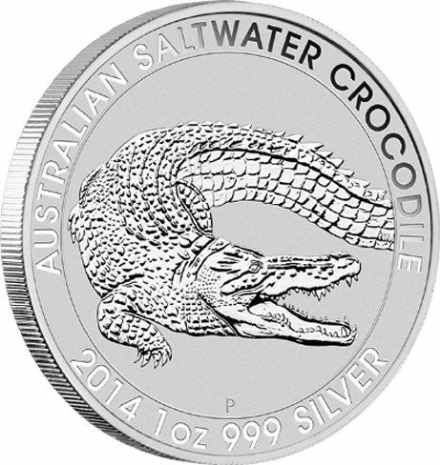 2014 1oz Silver Saltwater Crocodile from the Perth Mint